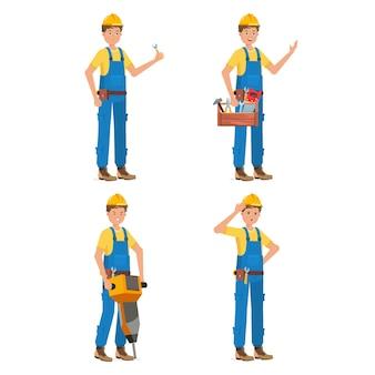 Conjunto de poses de ingeniero aislado en blanco
