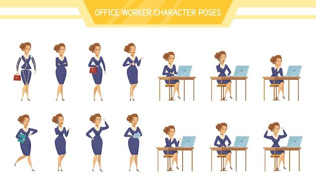 Conjunto de poses de mujer trabajadora de oficina