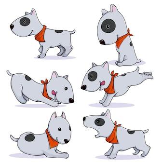 Conjunto de poses de perros bull terrier de personaje de dibujos animados