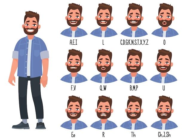 Conjunto de la posición de los labios al pronunciar palabras para la animación del personaje que habla