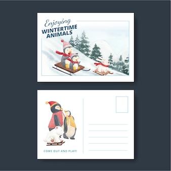 Conjunto de postal de invierno