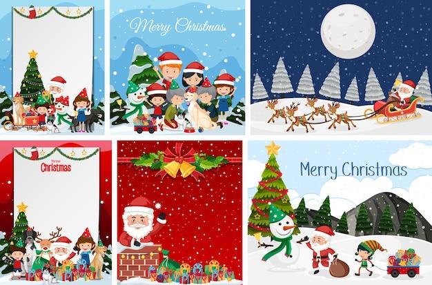 Conjunto de postal de navidad en blanco y logotipo aislado