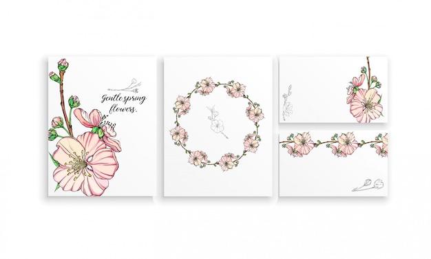 Conjunto de postales con delicadas flores primaverales.