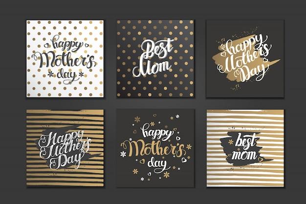Conjunto de postales para el día de la madre. escrito a mano letras de moda. diseño tipográfico dorado y negro.