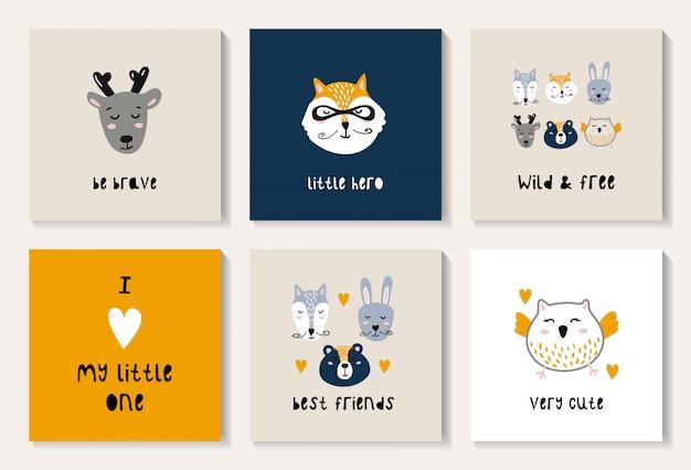 Un conjunto de postales con lindos animales del bosque