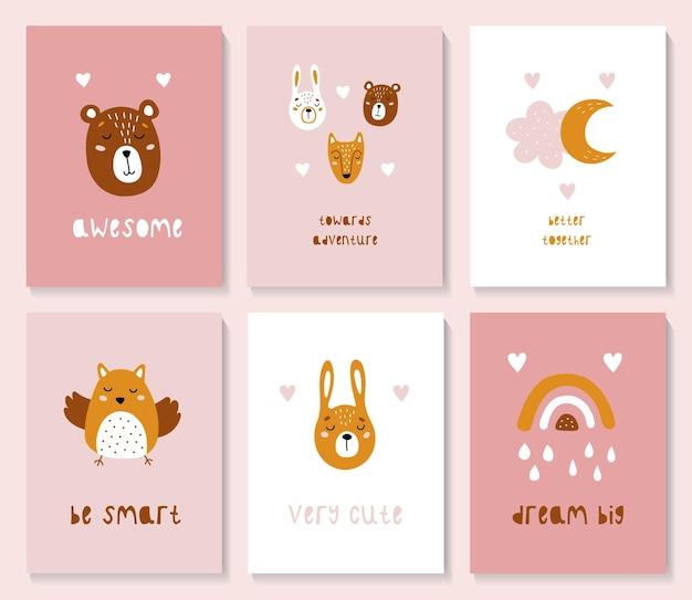 Un conjunto de postales con lindos animales del bosque.