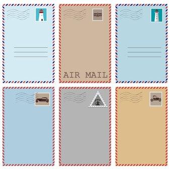 Conjunto de postales vintage con sellos.