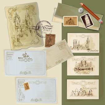 Conjunto de postales vintage