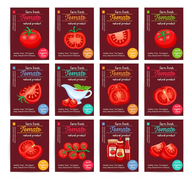 Conjunto de póster de salsa de tomate con salsa de tomate.