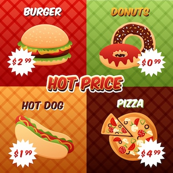 Conjunto de pósters de comida rápida