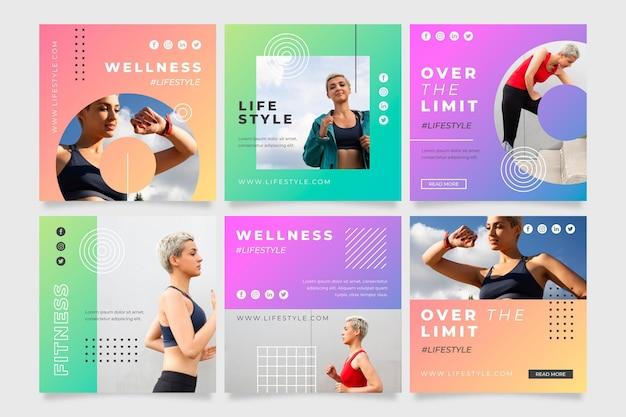 Conjunto de postes de salud y fitness degradados