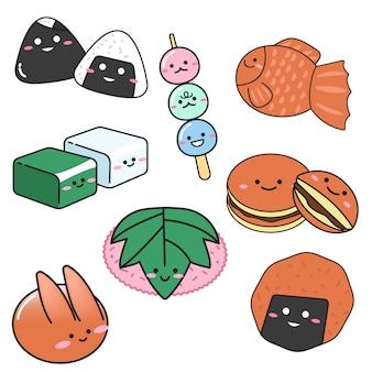 Conjunto de postre dulce japonés en estilo doodle