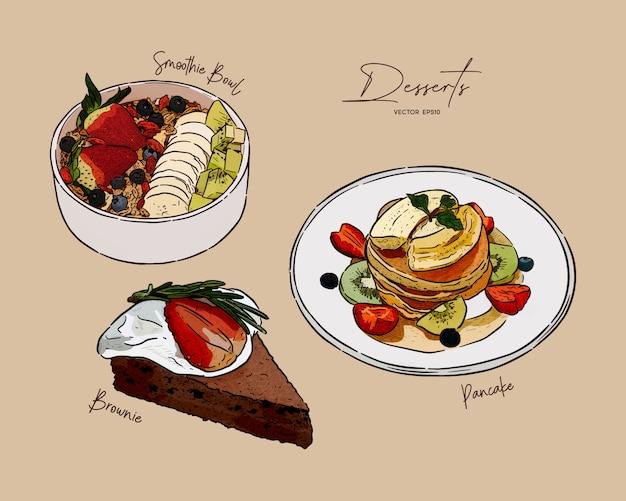 Conjunto de postre, tazón de batido, panqueques y brownie en la parte superior con variedades de frutas. bosquejo de dibujar a mano