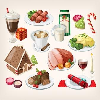 Conjunto de postres y comida tradicional navideña