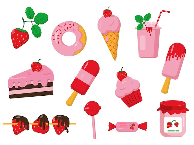 Conjunto de postres de fresa. iconos dulces aislados sobre fondo blanco.