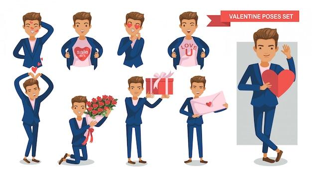 Conjunto de postura de personajes de hombre. enamorado. día de san valentín.