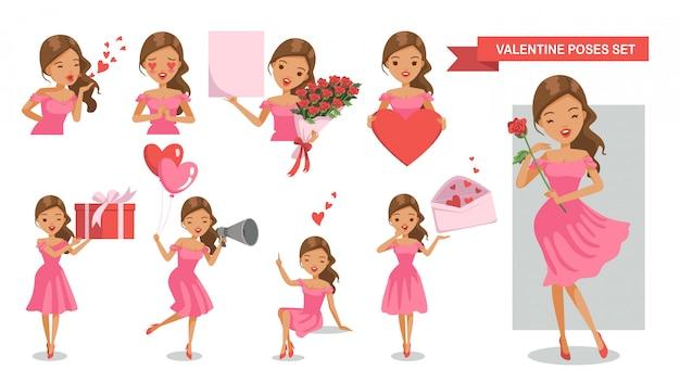 Conjunto de postura de personajes de mujer. enamorado. día de san valentín.
