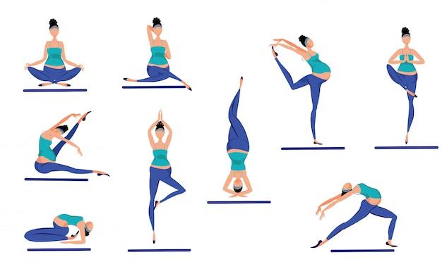 Conjunto de posturas de yoga coloridas