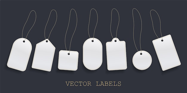 Conjunto de precio de etiqueta colgante, etiqueta de precios de papel en blanco blanco o plantilla de etiquetas de insignias vacías.