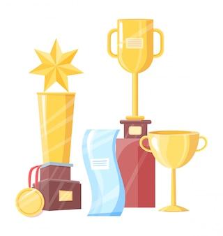 Conjunto de premios de diferente forma