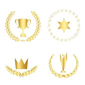 Conjunto de premios y distintivos vectoriales.