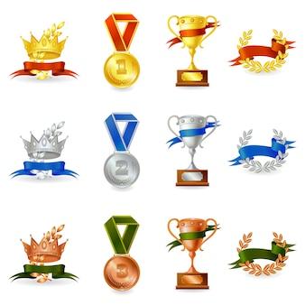 Conjunto de premios y medallas.