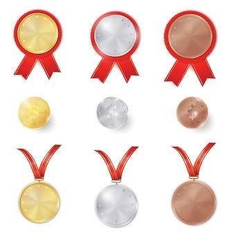 Conjunto de premios de oro, plata y bronce.