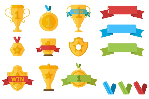 Conjunto de premios de oro, trofeos, estrellas, copas, cintas, medallas.