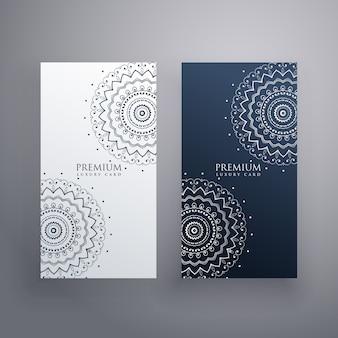 Conjunto premium de diseños de tarjetas de mandala