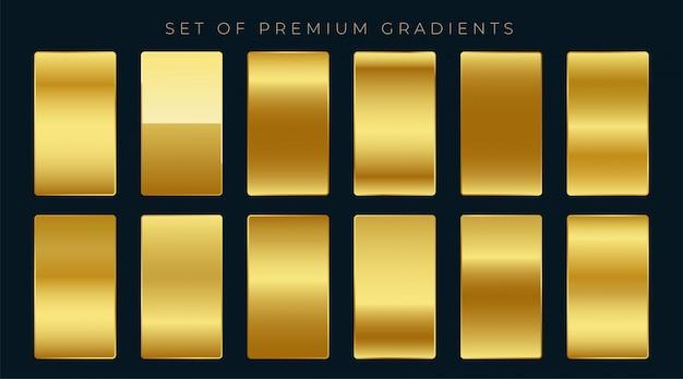 Conjunto premium de gradientes dorados.