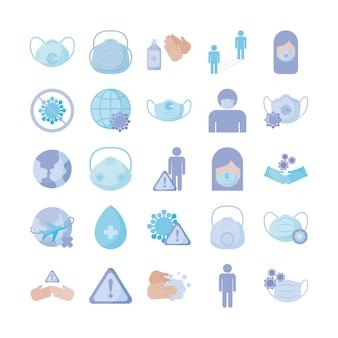 Conjunto de prevención de iconos, protección de coronavirus, icono de estilo plano