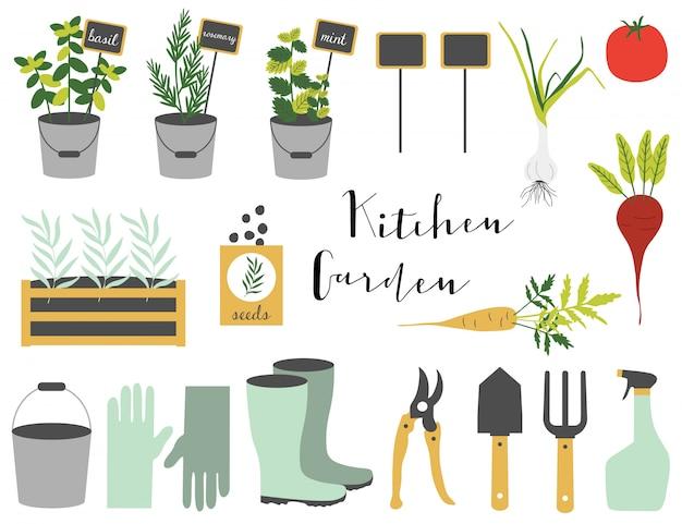Conjunto de primavera con herramientas de jardinería.