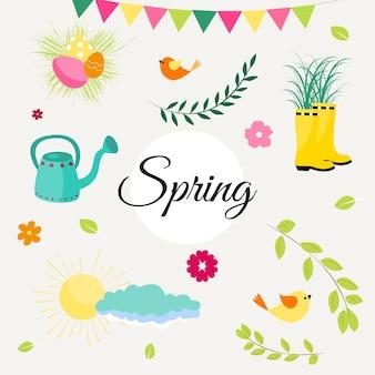 Conjunto de primavera de lindos pájaros, flores y decoraciones. póster, tarjeta, álbum de recortes, kit de pegatinas. ilustración de vector dibujado a mano.