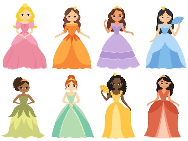 Conjunto de princesa de dibujos animados. colección de chicas lindas en hermosos vestidos.