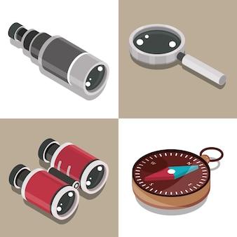 Conjunto de prismáticos telescopio