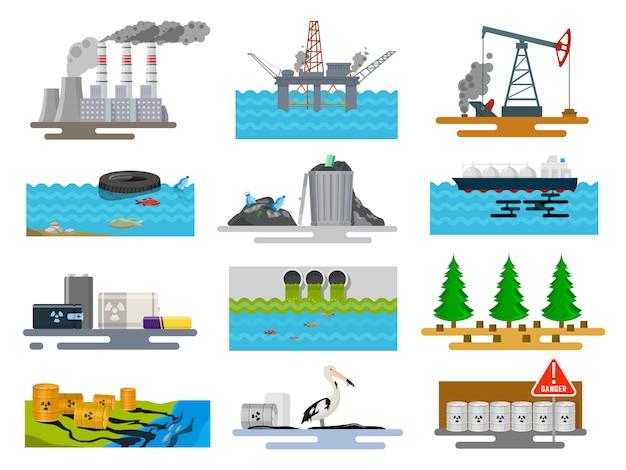 Conjunto de problemas ecológicos en la naturaleza
