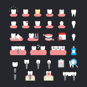 Un conjunto de problemas y de implantes dentales en iconos de estilo plano