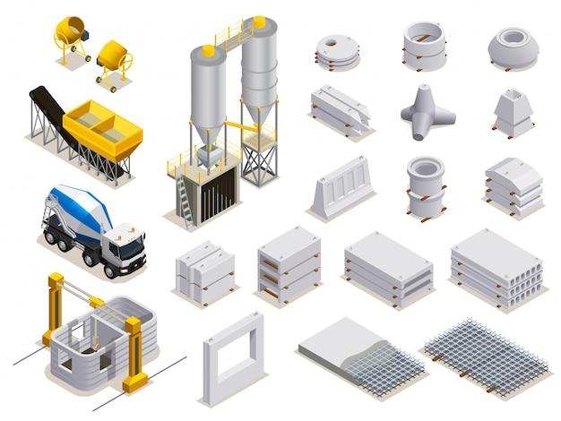 Conjunto de producción de hormigón de iconos isométricos con transporte de equipos de fabricación y detalles de piedra terminados aislados