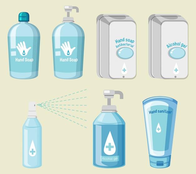 Conjunto de producto de higiene prevenir covid-19