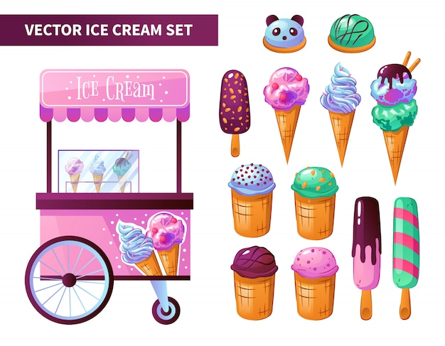 Conjunto de productos de carrito de helados