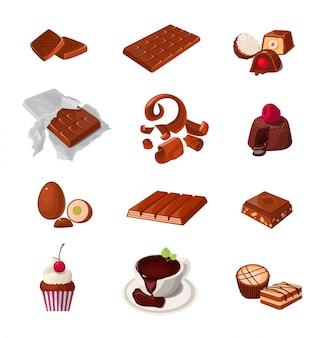 Conjunto de productos de chocolate. varios pasteles dulces. ilustraciones realistas aisladas.