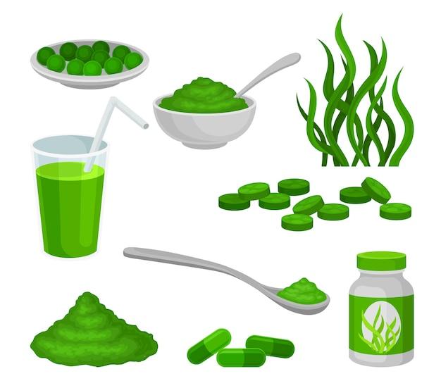 Conjunto de productos curativos de algas.