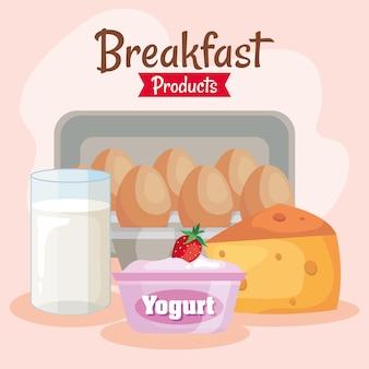 Conjunto de productos de desayuno delicioso.