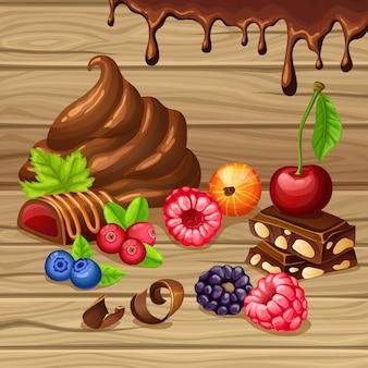 Conjunto de productos dulces de dibujos animados
