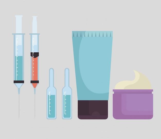 Conjunto de productos faciales e inyecciones.