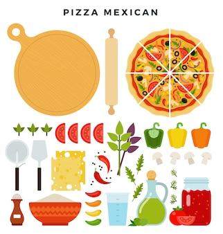 Conjunto de productos y herramientas para hacer pizza aislado en blanco