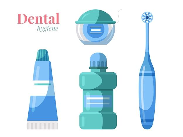 Conjunto de productos de higiene bucal dental aislado en blanco cepillo de dientes pasta de dientes enjuague bucal hilo
