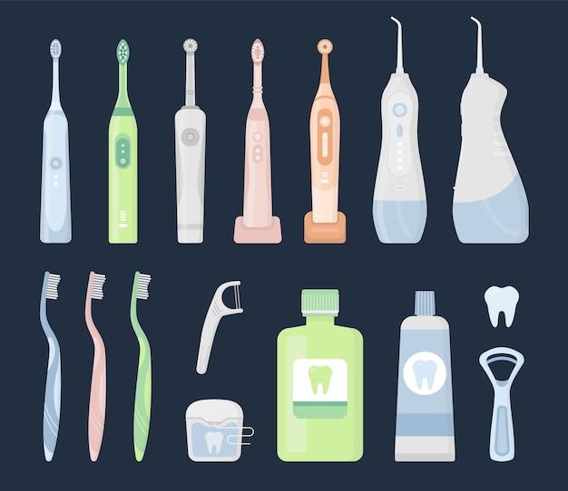Conjunto de productos de higiene bucal y herramientas de limpieza dental.