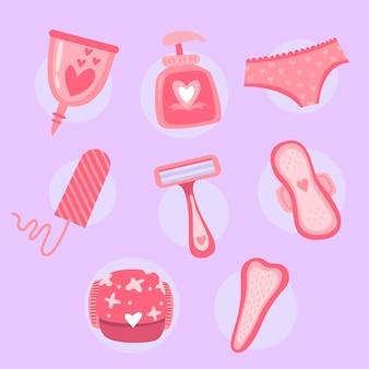 Conjunto de productos de higiene femenina.