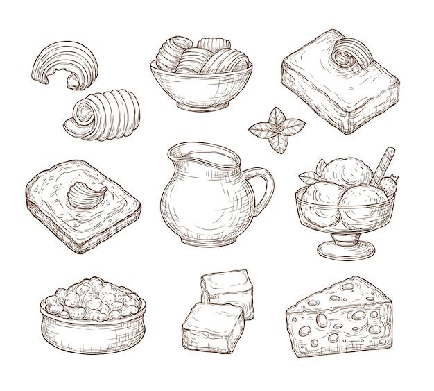Conjunto de productos lácteos de bosquejo